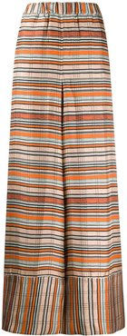 striped silk wide-leg trousers - ORANGE
