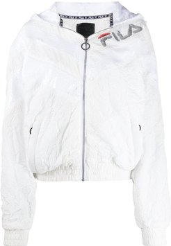 sequin-embellished logo jacket - White