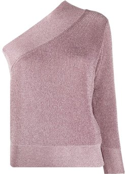 metallized one-sleeve jumper - PINK
