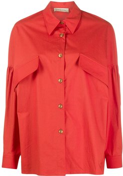 oversized long-sleeve shirt - Red