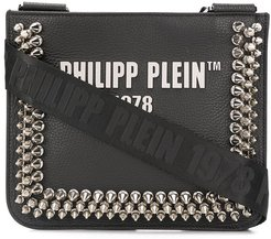 studded logo crossbody bag - Black