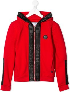 logo-tape hooded jacket - Red