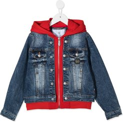 teddy bear print denim jacket - Blue