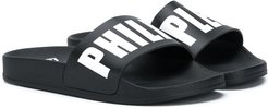 logo strap pool slides - Black
