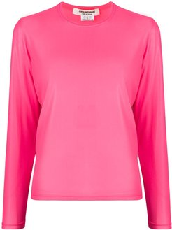 crew neck long-sleeved top - PINK