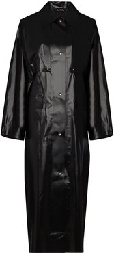 Oil coated canvas trench coat - Black