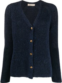 ribbed knit cardigan - Blue