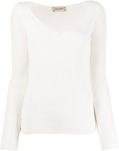ribbed knit jumper - NEUTRALS