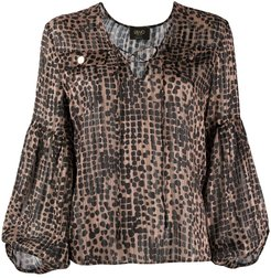 animal-print tie-neck blouse - Brown