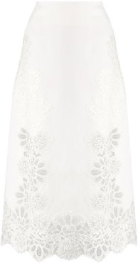 lace-trimmed midi skirt - White