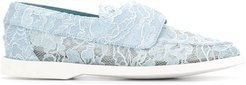 Claire lace-embellished loafers - Blue