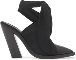 scarf tie point-toe mules - Black