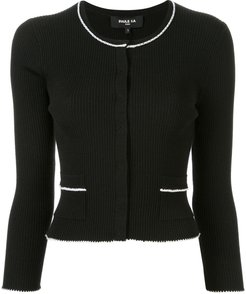 contrast piping cardigan - Black