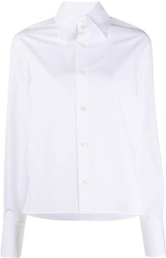 oversized pointed collar shirt - White