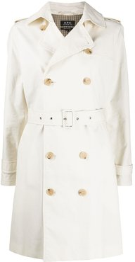 double breasted trench coat - NEUTRALS