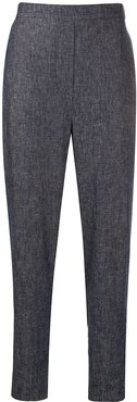chambray tapered trousers - Blue
