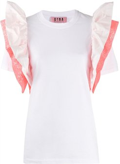 ruffle sleeve T-shirt - White