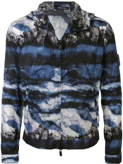 abstract print hooded jacket - Blue