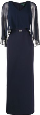 Catarina sheer-overlay gown - Blue