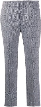 geometric patterned cropped trousers - Blue