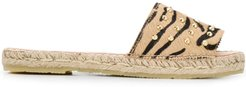 animal print studded espadrille sandals - Brown