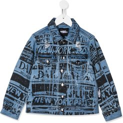 printed denim jacket - Blue
