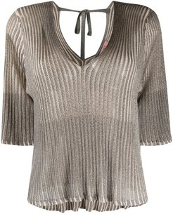 ribbed lurex knitted top - Grey