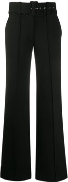 belted wide-leg trousers - Black