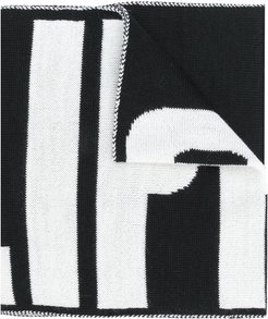 knitted logo scarf - Black
