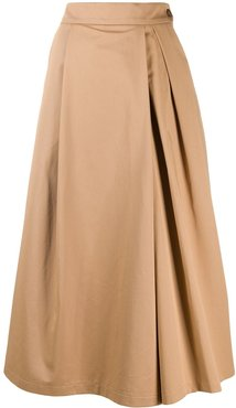 side button a-line skirt - Brown