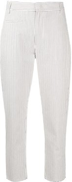 pinstripe cropped trousers - White