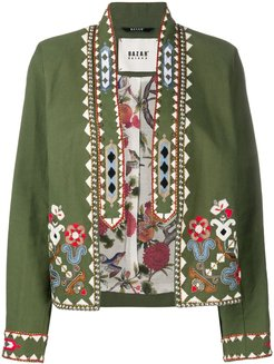 floral embroidered cropped jacket - Green