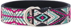 Nyess Navajo-embroidered belt - Black