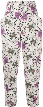floral print tapered trousers - NEUTRALS
