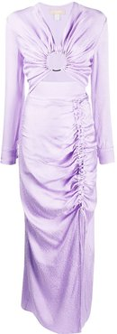 ruched long sleeved dress - PURPLE