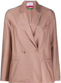 double-breasted fitted blazer - PINK
