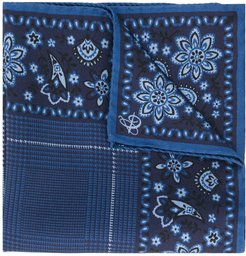 paisley print pocket square - Blue