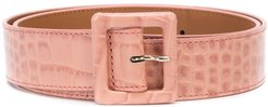 snakeskin effect belt - PINK