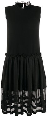 tulle skirt ribbed sleeveless dress - Black