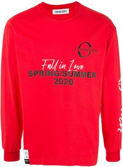 logo print sweater - Red