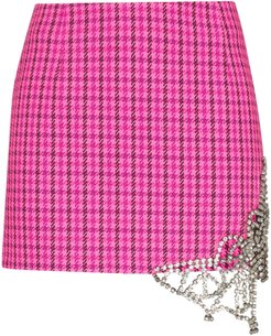 crystal-butterfly checked mini skirt - PINK