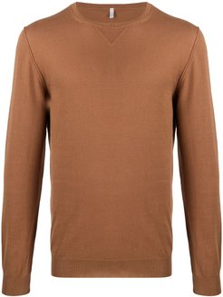 long-sleeve fitted jumper - Brown