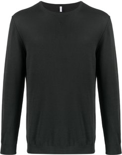 long-sleeve fitted jumper - Black
