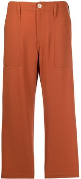 cropped straight leg trousers - ORANGE