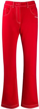contrast-stitch kick-flare jeans - Red