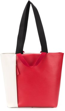 colour block tote bag - Red