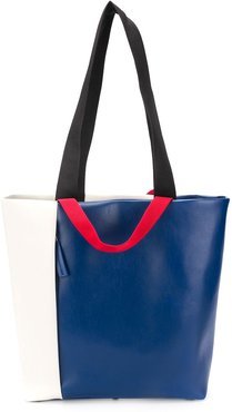 colour block tote bag - Blue