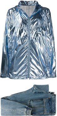 metallic lightweight jacket and tapered jeans set - Blue