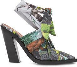 scarf tie point-toe mules - Green