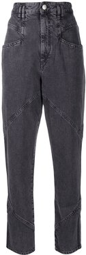 high waisted tapered jeans - Grey